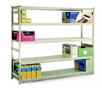 Quick n' Easy shelving that just taps into place  Tough steel finished in  Off White  Choose from steel, natural particleboard or melamine shelves